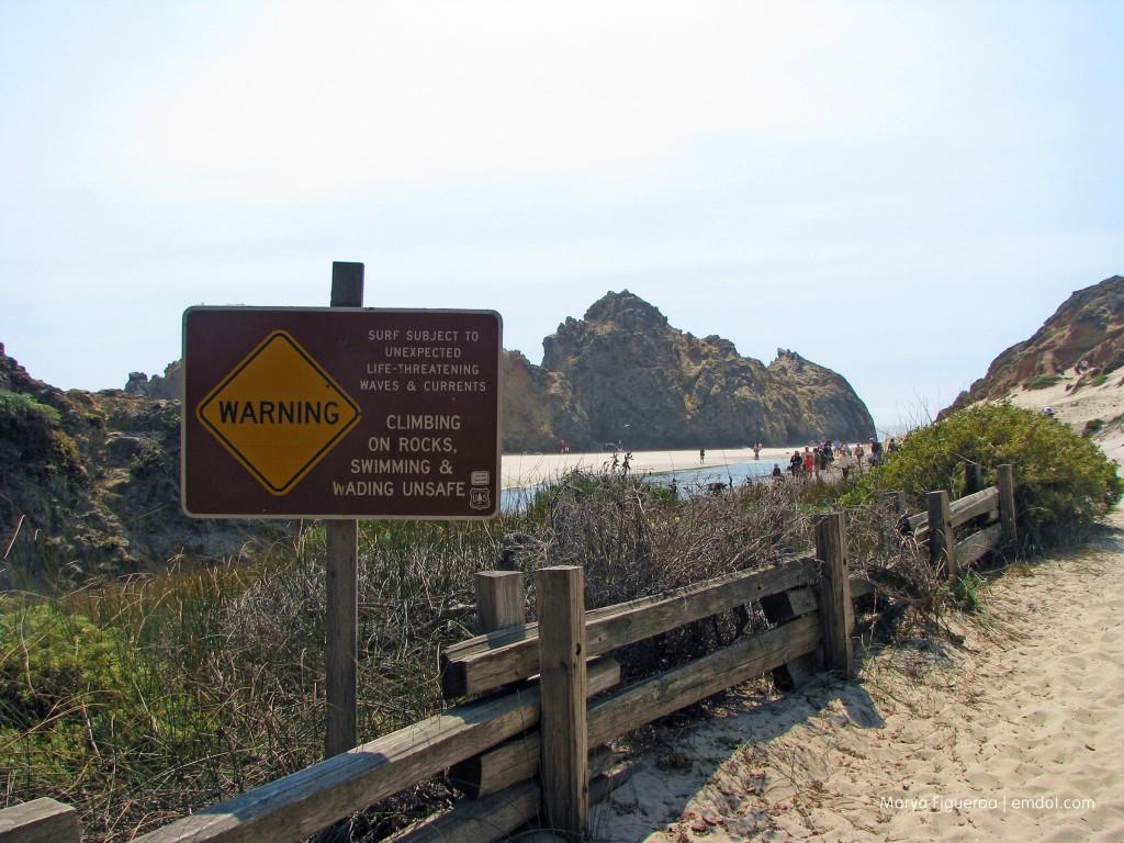 Pfeiffer Beach warning