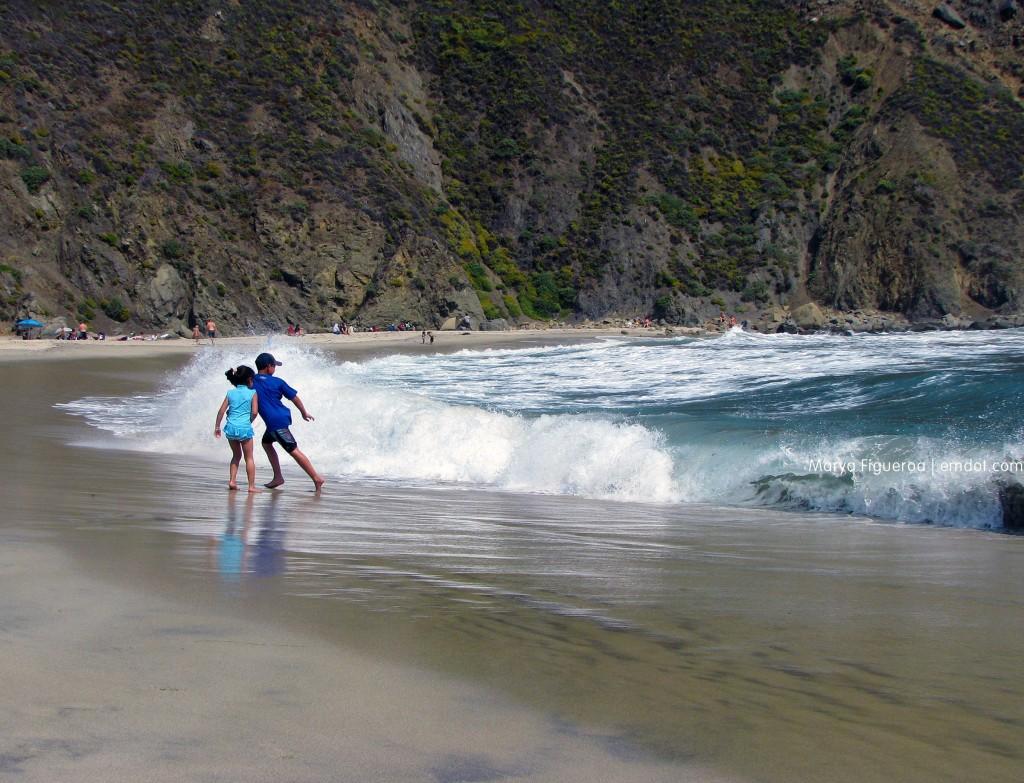 Pfeiffer Beach running from the waves