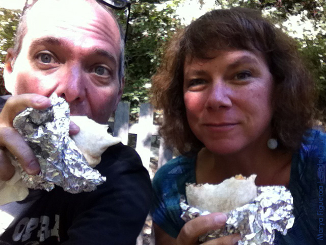 Eating burritos