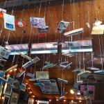 books hanging from the rafters