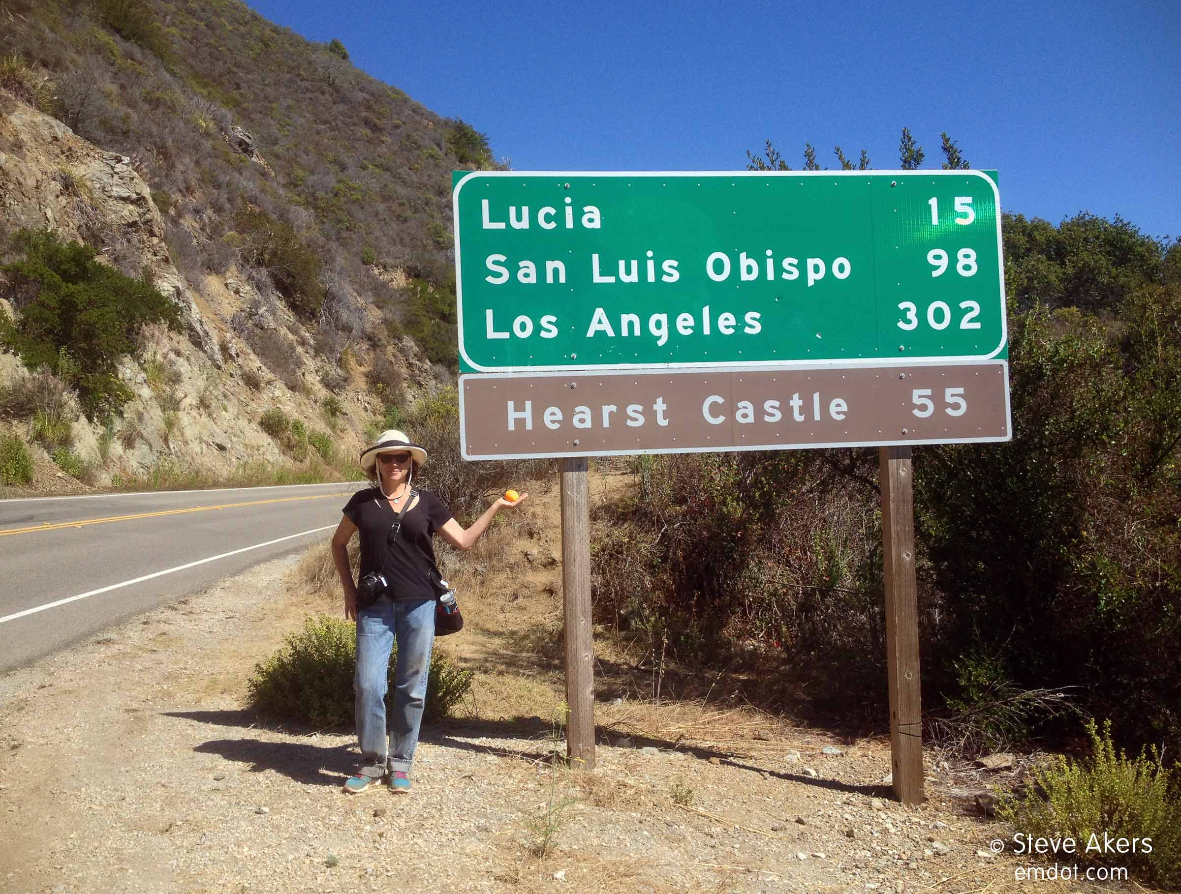 me, road sign, and the orange (note the very dirty blue jeans; that hike was DUSTY!)