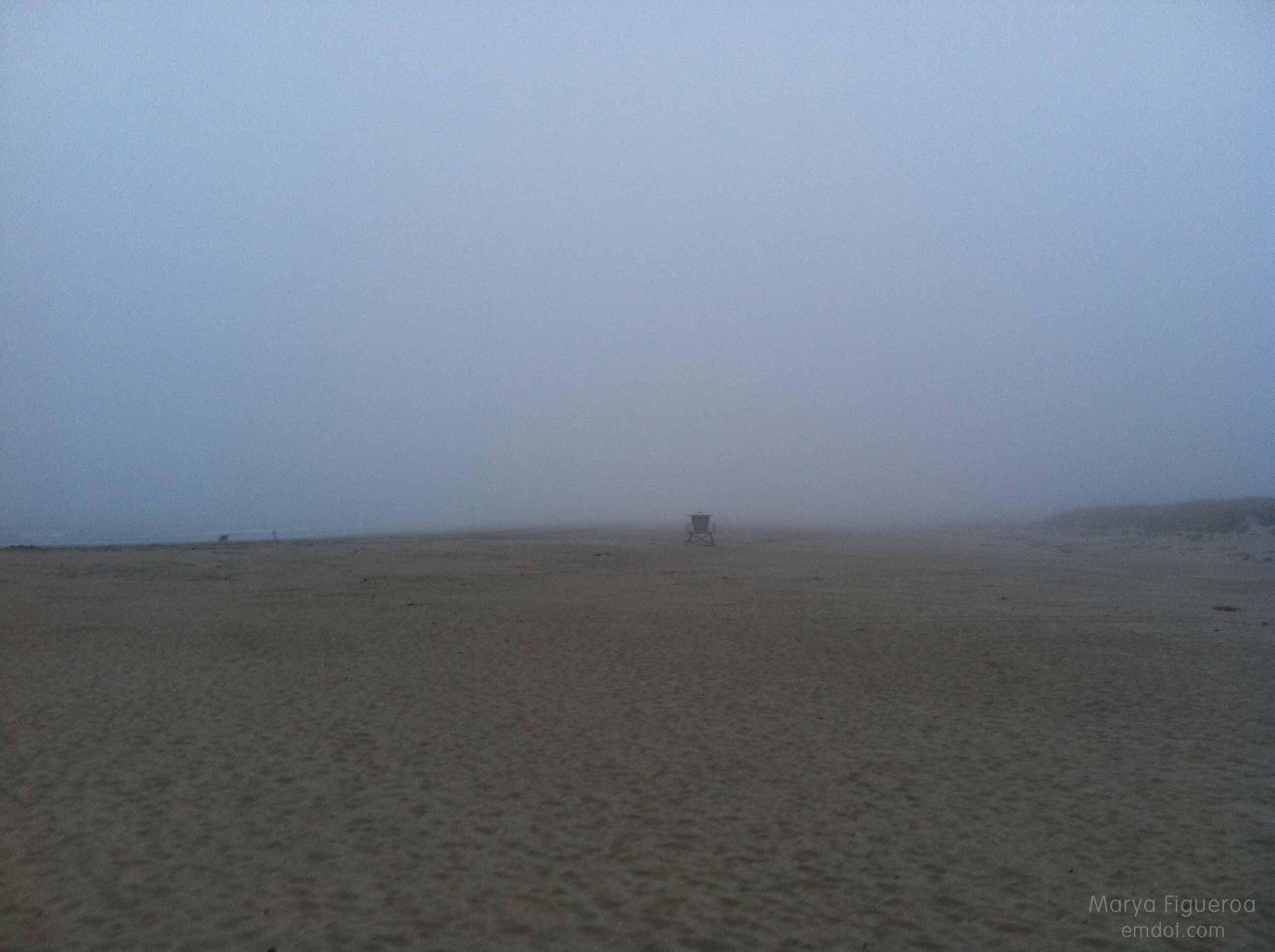 foggy beach at morro rock