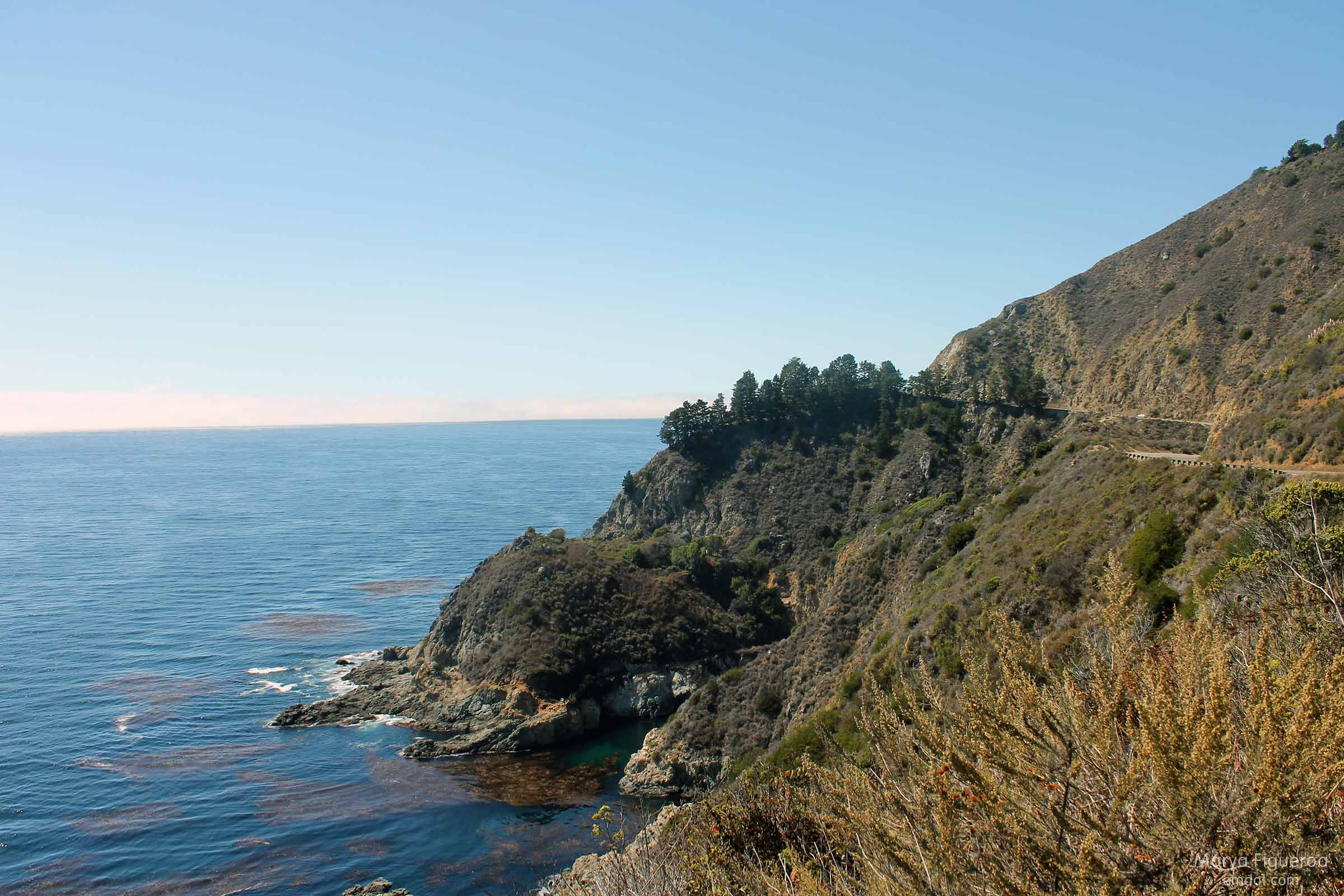 On Highway 1, walking back to our car