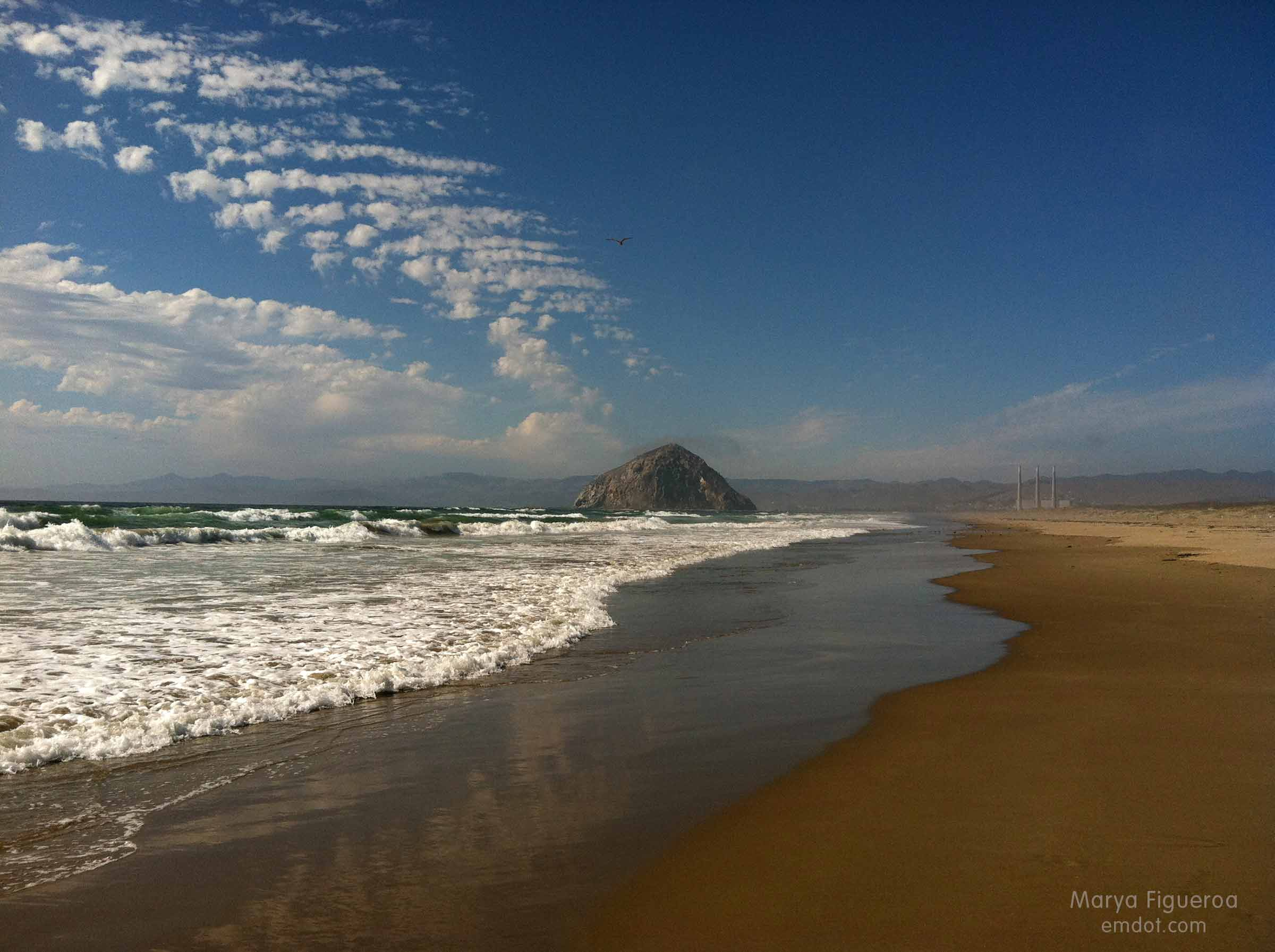 sand spit view of Morro Rock