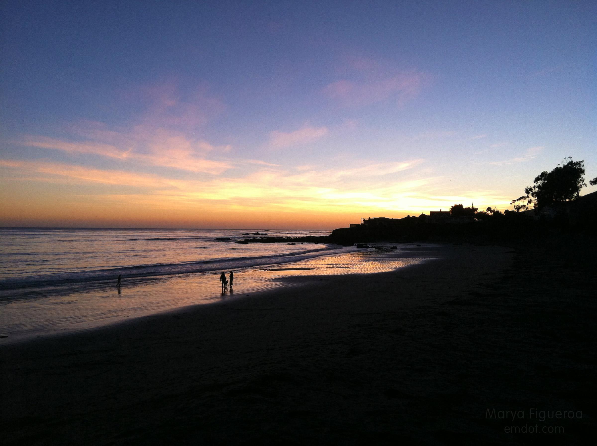 family on the beach, sunset style